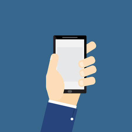 Human hand holding smartphone  smart mobile phone flat vector illustration Ilustracja