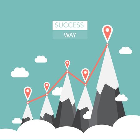Vector flat flag on mountain. Success illustration. Goal achievement. Business concept. template vector illustration