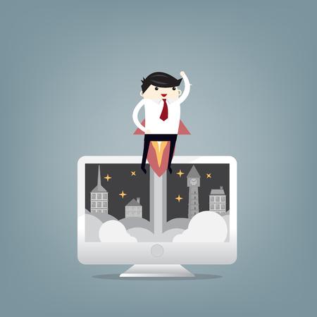 Startup Business. Businessman and a rocket. Flat design business concept illustration.