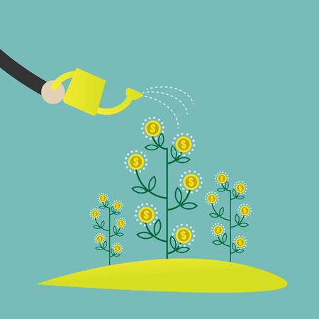 Flat design vector illustration of a hand watering money plants, concept for making money, investment,financial management on light background