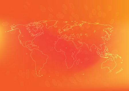 World map with orange color