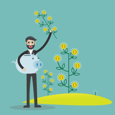 Flat design vector illustration of a hand holf money plants, concept for making money, investment,financial management on light background