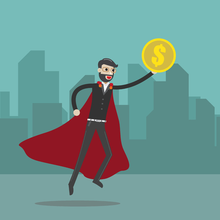 Flat design vector illustration of a Super buisness man hold money,concept for making money, investment,financial management on city background