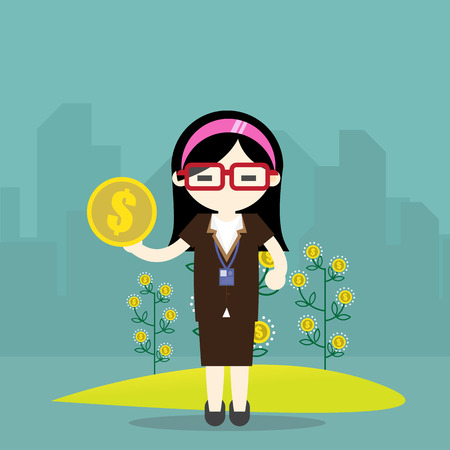 Flat design vector illustration of business woman  hand hold money, concept for making money, investment,financial management on light background