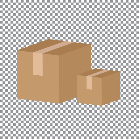 Closed cardboard box taped up and isolated on a white background. Ilustracja