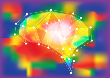 Abstract polygonal brain with glowing dots and lines, network connections. Vector illustration Ilustracja