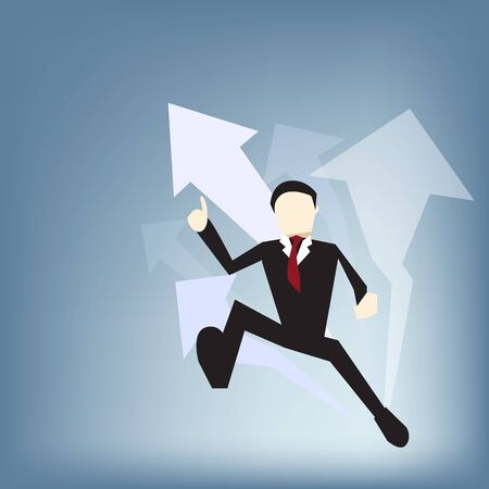 Hard-working Business man run for future, Business vector concept illustration