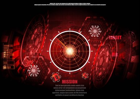 red background conceptual image of digital technology