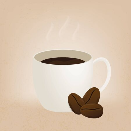 Hot coffee cup on brown background Ilustracja