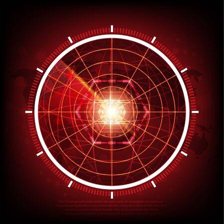 Red radar screen design element Vector illustration for your design