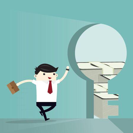 Business man run to Keyhole money bank inside.