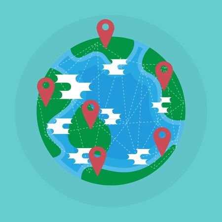 Planet Earth and  map red pins icon. colorful map labels. Modern graphic elements, infographics. Flat design vector illustration. Ilustracja