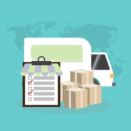 Internet shopping, online purchases, e-commerce, package delivery concept, global transportation business, stack of cardboard boxes (Earth map Elements by NASA) Ilustracja