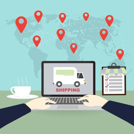 Internet shopping, online purchases, e-commerce, package delivery concept, global transportation business, (Earth map Elements by NASA) Ilustracja