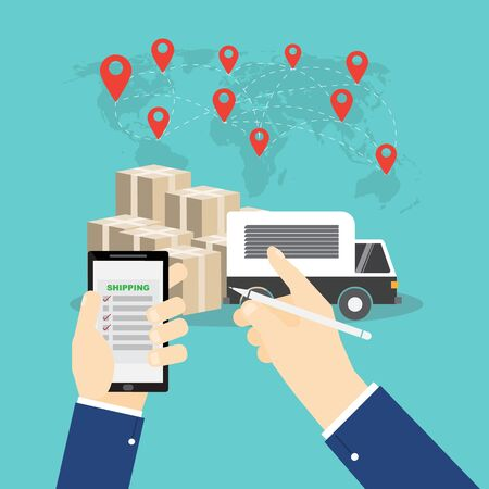 Hand hold smartphone and point truck and box Logistics and transportation on wolrd map background Ilustracja