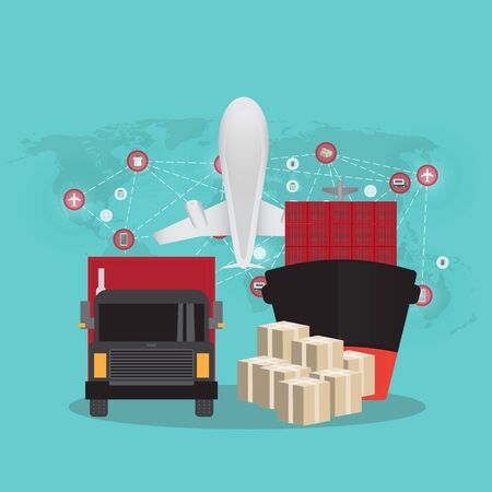 Logistics and transportation of Container Cargo ship and Cargo plane  in shipyard logistic import export and transport industry on world map background Ilustracja