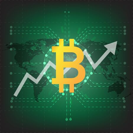 Fin-tech Financial Technology concept image. Digital currencies, cryptocurrency, digital money and bitcoin concept. Bitcoin icon and electric circuit graphic on green background