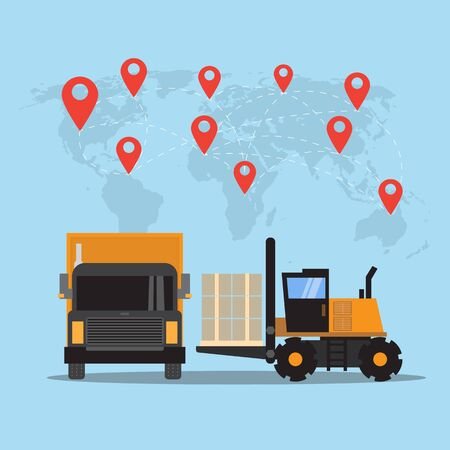 Logistics and transportation of Container Cargo in shipyard logistic import export and transport industry on world map background