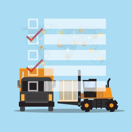 check list truck and box Logistics and transportation on wolrd map background