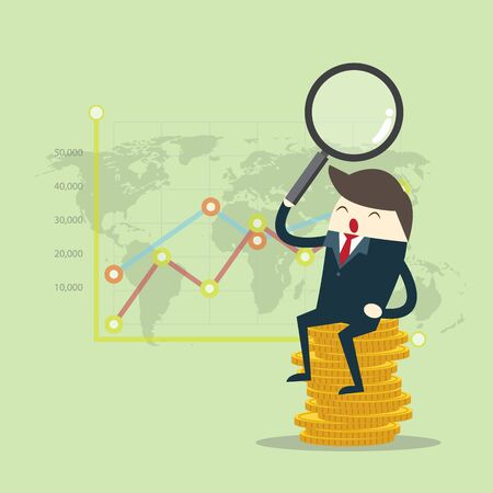 Vector growth concept in flat style happy business man sit on stack of golden coins and Magnifying glass with graph backgroud, Investment concept