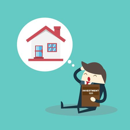Vector growth concept in flat style happy business man and  house, Investment concept
