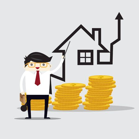 Vector growth concept in flat style happy business man  and house graph, Investment concept Illustration