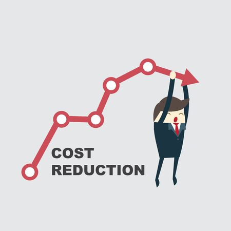 Cost reduction concept. Cost down. Businessman with his hand lowers the arrow of the graph. Vector illustration flat design. Decrease down profit. Declining chart.
