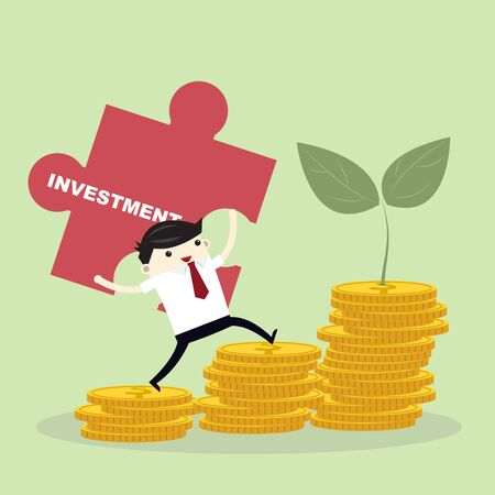 Investment growth concept, business man hold jigsaw step on golden coin stack and small tree on green background.