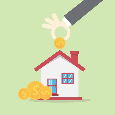 Vector saving concept in flat style -Hand hold golden coins with house, Investment concept