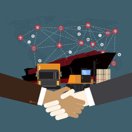 Handshake and Logistics and transportation of Container Cargo ship  in shipyard logistic import export and transport industry on wolrd map background