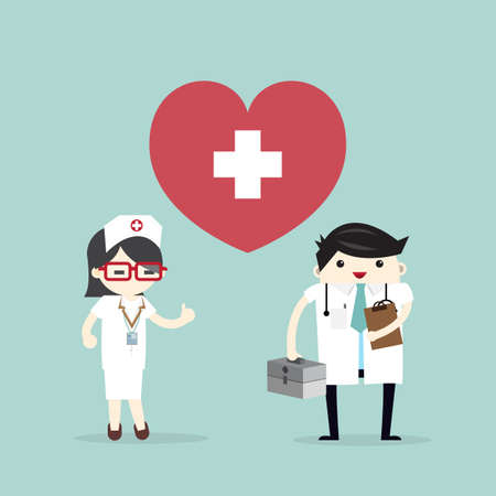 Doctor and nurse with heart icon Stock Illustratie