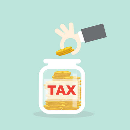 Male hand saving put coin for pay tax, Investment concept,