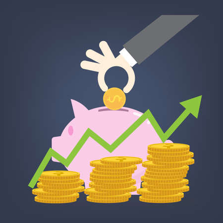 Flat design concepts for business,hand put coin on piggy, investing saving concept,  イラスト・ベクター素材