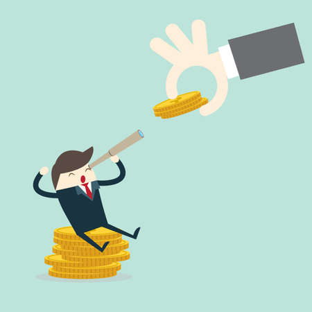 Flat design concepts for business,hand put coin to business man, investing saving concept,
