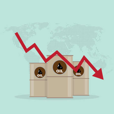 Oil industry crisis concept. Drop in crude oil prices chart. Financial markets vector illustration. Illustration