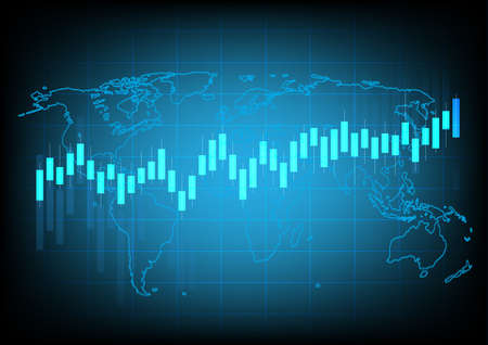 Business chart with uptrend line graph chart and stock numbers in bull market on blue color background ,Earth image courtesy of Nasa Ilustración de vector