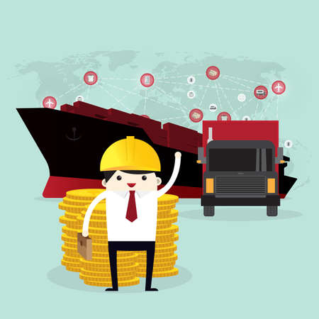 Business man and coin stack, Logistics and transportation of Container Cargo ship in shipyard logistic import export and transport industry on world map background
