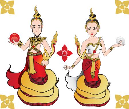 Naga Twin Cartoon