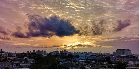 sunset in the city background, Bangkok Thailand, beautiful sky 스톡 콘텐츠