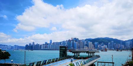 city view in Hong Kong, blue sky
