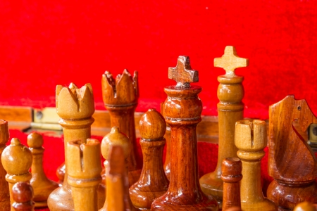 Close up of chess pieces in box background photo