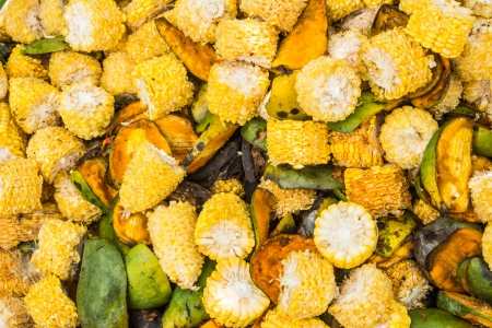 Close up of pile of rotting fruits and vegetable background