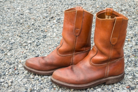 hillwalking: Close up of brown boots on small stone background