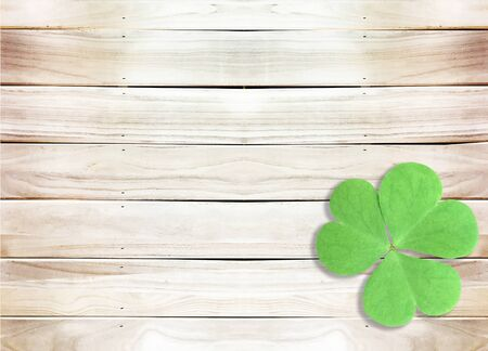 St. Patrick's Day with A Green Shamrocks on Wooden Texture