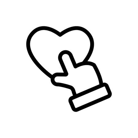 hand,love, vector line icon, logo , symbol , mobile app , sign, illustration on background