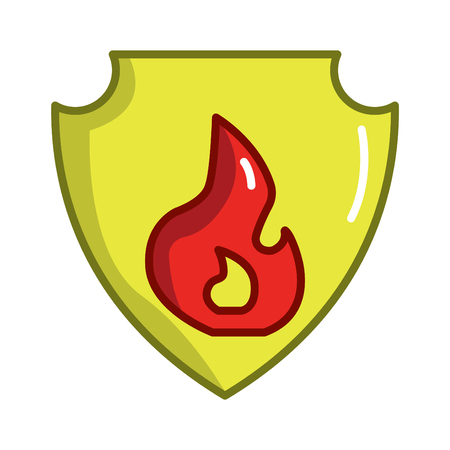 Firefighter concept vector thin line icon. Fire shield, symbol, sign, illustration on isolated background.