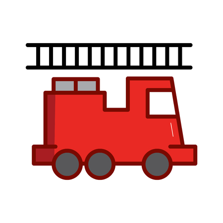 Firefighter concept vector thin line icon. Fire truck, symbol, sign, illustration on isolated background.