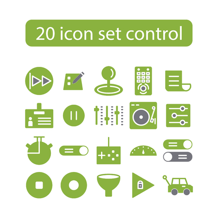 20 icons set, control, tool, vector, design in color green illustration.