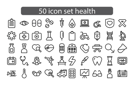 Medicine and Health Vector icons set Thin line outline,flat
