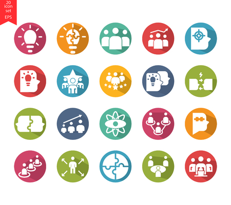 Vector set of 20 quality icons related to team work, career progress and business process. Mono line and design elements